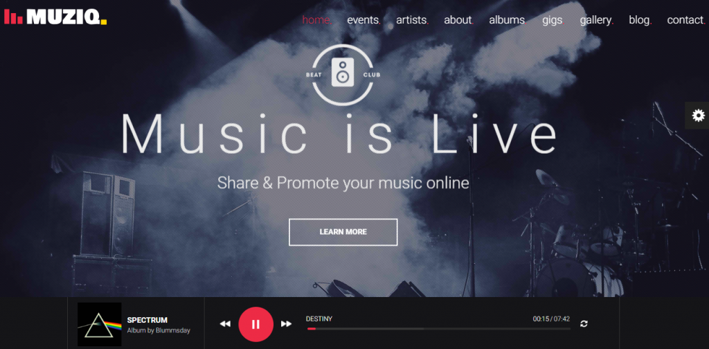 Muziq WordPress Theme for Musicians